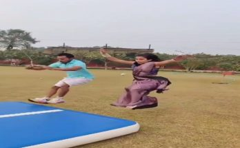 When the girl wearing a sari put a lot of spin in the air, the video went viral